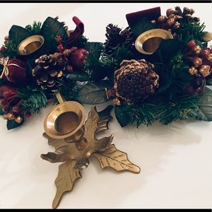 Other - 3 brass candle holders w/2 faux mini wreaths